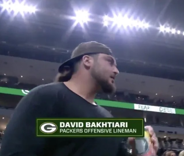 Video Aaron Rodgers And Beer Chugging David Bakhtiari Get Fans Pumped At Bucks Game