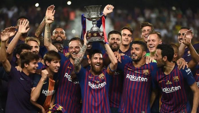 Image result for barcelona win trophy