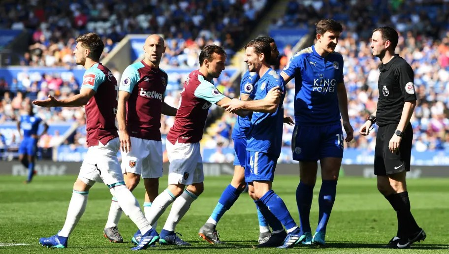 Leicester England May 05 Aaron Cresswell Of West Ham United And Adrien Silva