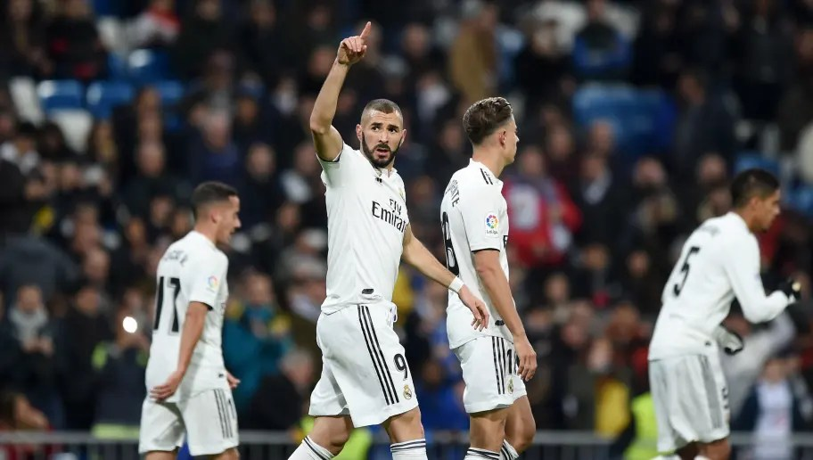 Madrid Spain December  Karim Benzema Of Real Madrid Celebrates After Scoring His