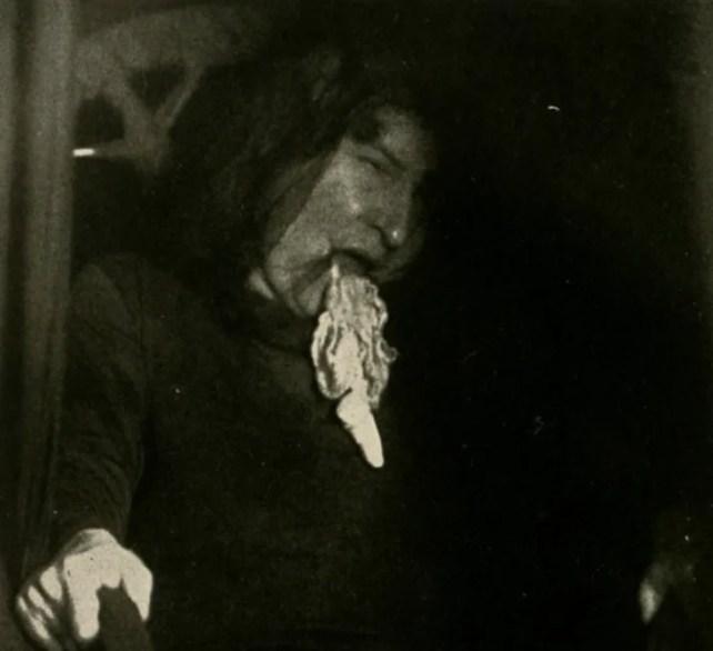 A photo of Eva Carrière regurgitating ectoplasm