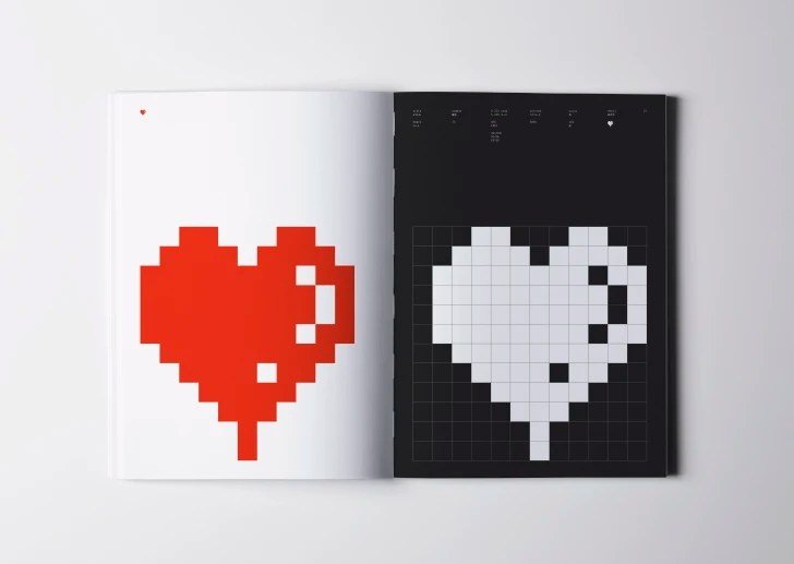 Book with heart emoji in color and black-and-white.