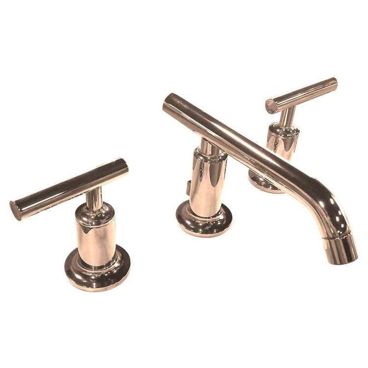 kohler k 14410 4 rgd purist widespread bathroom sink faucet w low lever handles low spout rose gold
