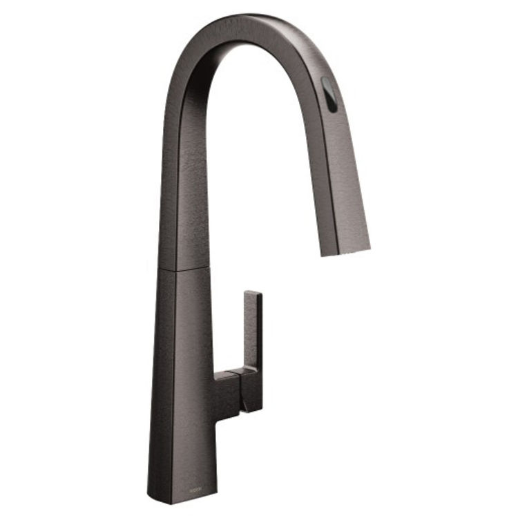 moen s75005evbls nio one handle voice activated pulldown kitchen faucet black stainless