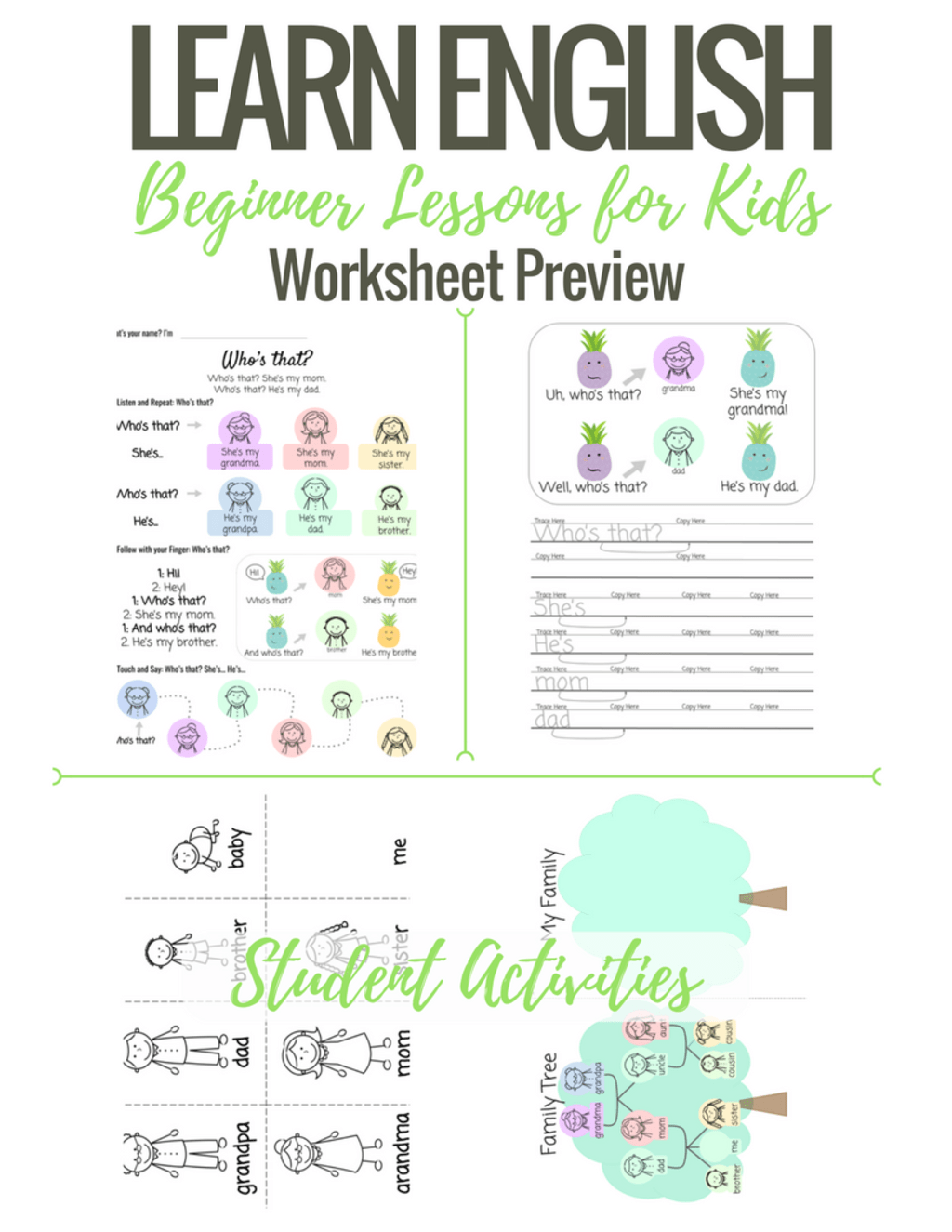 Beginner English Worksheets For Children My Family Using