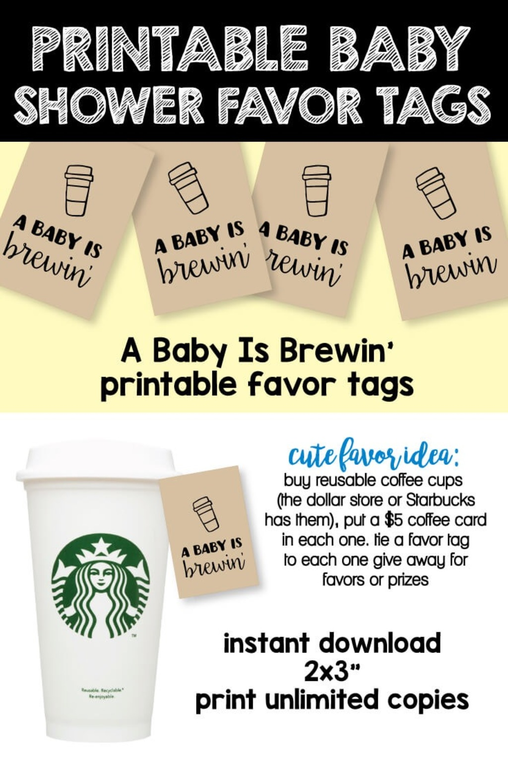 Printable A Baby Is Brewing Favor Tags