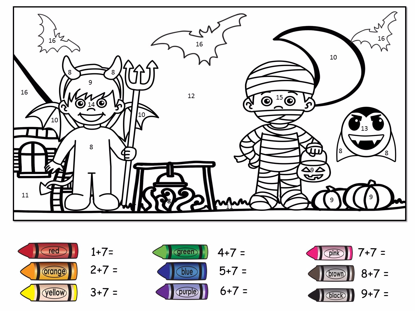 Halloween Themed Colour By Number Addition To 20