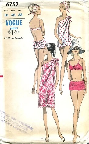 Vogue 6752 (c. 1966) Bikini and cover-up