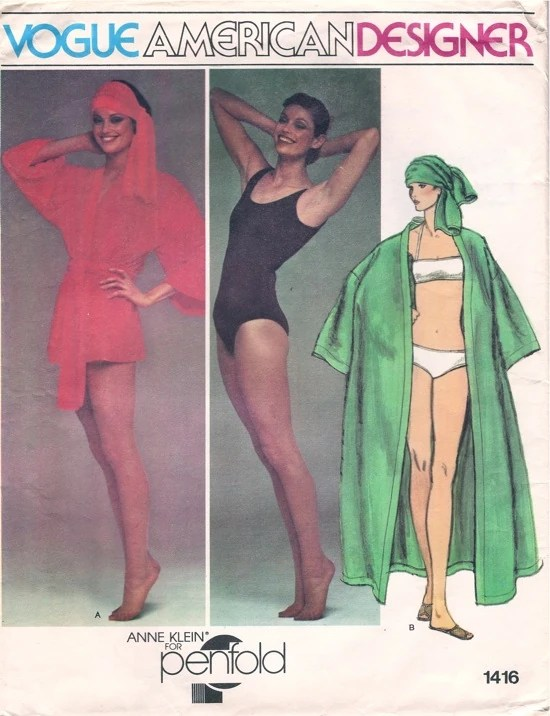 Vogue 1416 by Anne Klein for Penfold (1976) Swimsuit, bikini, cover-up and scarf