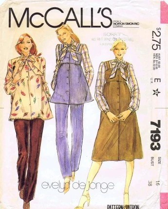 1980s designer maternity pattern by Evelyn de Jonge, McCall's 7193
