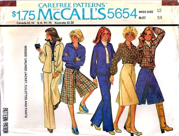 Look at those wide legged plaid culottes! If only they were a size bigger! And those gigantic collars!