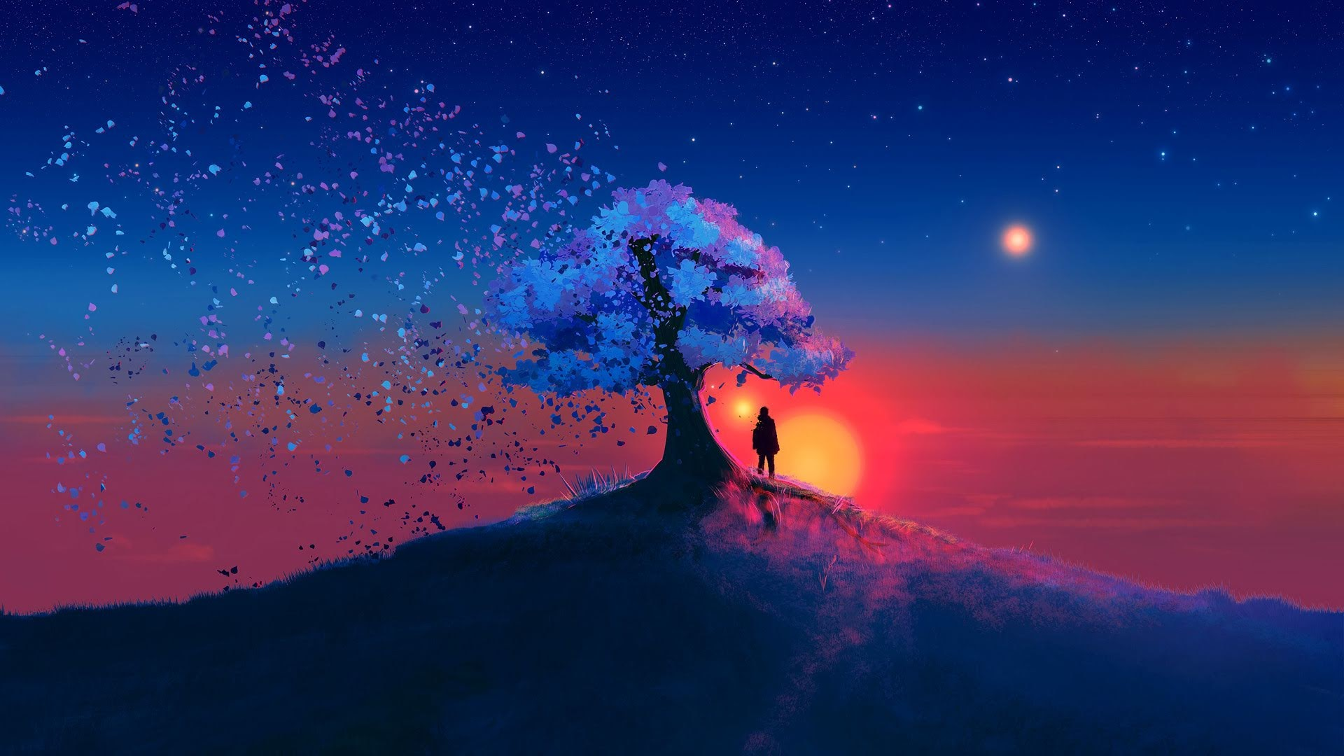 Boy Standing Under Tree At Sunset Hd Wallpaper Background Image 1920x1080 Id 1069102 Wallpaper Abyss