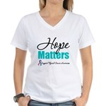 Thyroid Cancer Hope Matters Women's V-Neck T-Shirt
