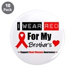 "I Wear Red Brother 3.5"" Button (10 pack)"