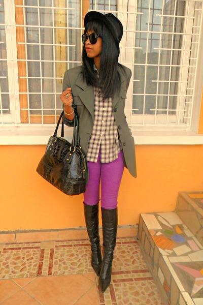 Black-h-m-hat-black-boots-brown-plaid-shirt-amethyst-skinny-pants_400