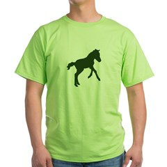 Green tee shirt with a foal's silhouette in dark green.