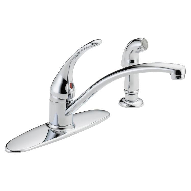 delta b4410lf foundations series single handle kitchen faucet w spray chrome