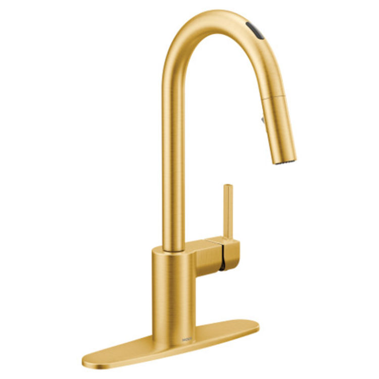 moen 7565evbg align one handle voice activated pulldown kitchen faucet brushed gold