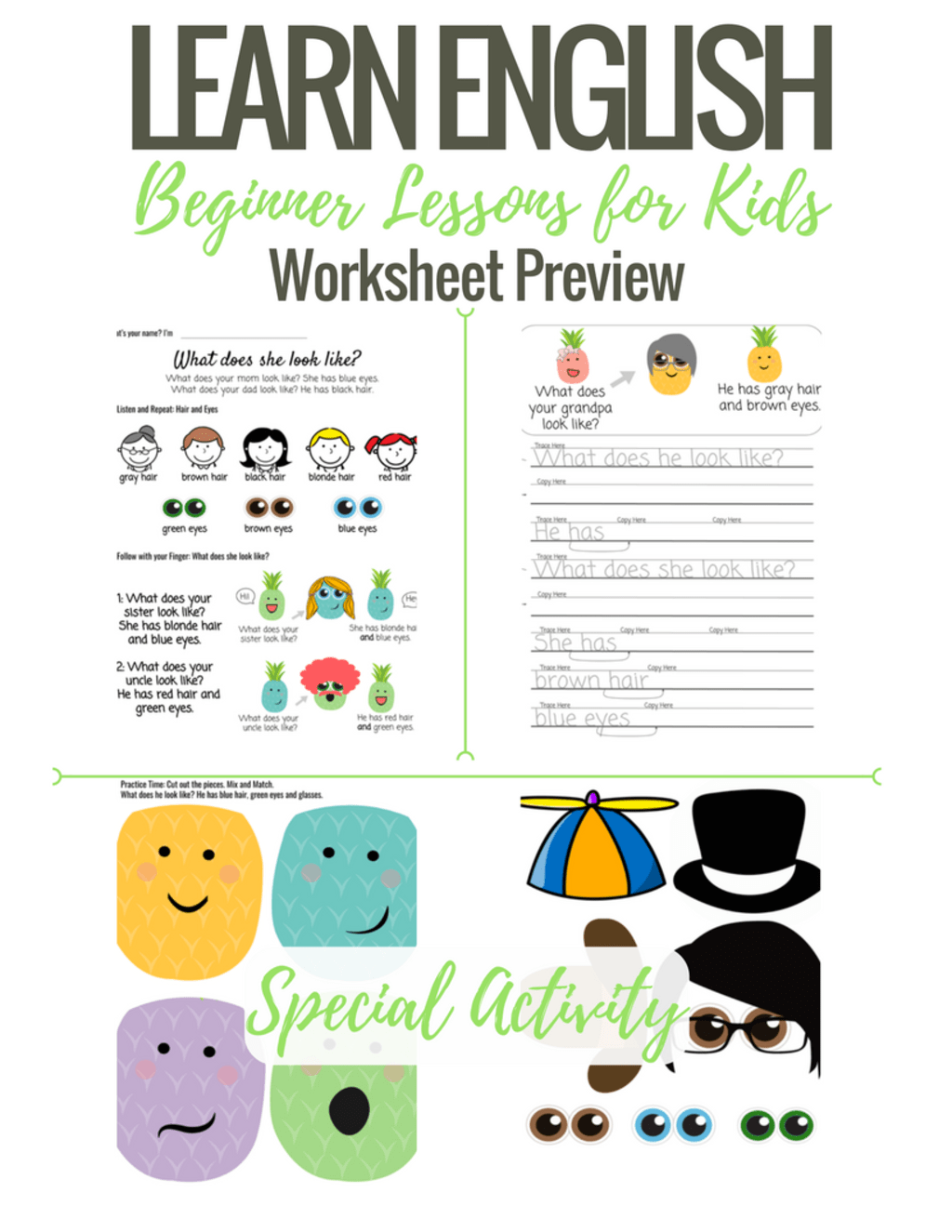 Beginner English Worksheets For Kids What Does She Look