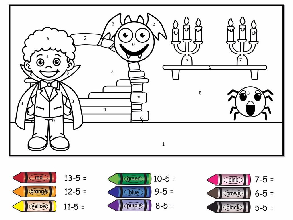 Halloween Colour By Number Subtraction Easy