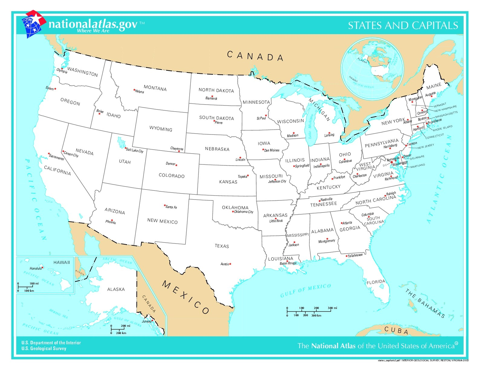 Usa Map With Cities And States