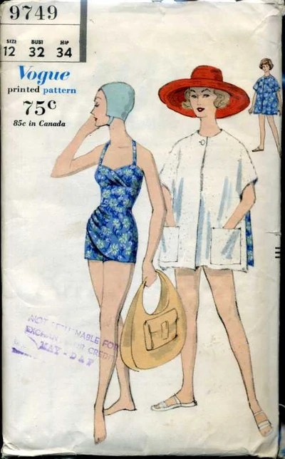 Vogue 9749 (1959) Bathing suit and reversible beach coat