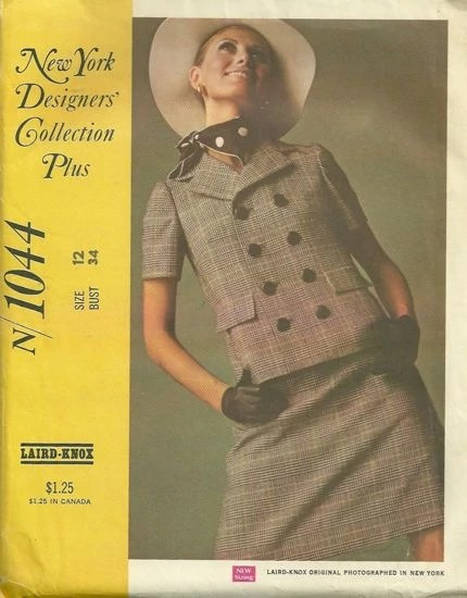 Maud Adams models a Sixties suit pattern by Laird-Knox, McCall's 1044