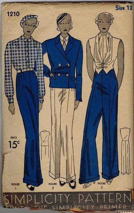 Simplicity 1210 1930s women's tuxedo pattern