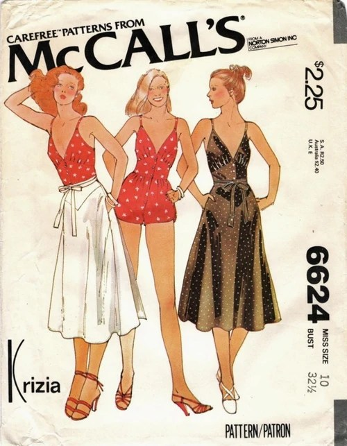 McCall's 6624 by Krizia - 1970s playsuit and wrap skirt