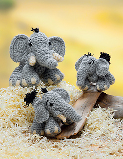Little crocheted elephants with big feet