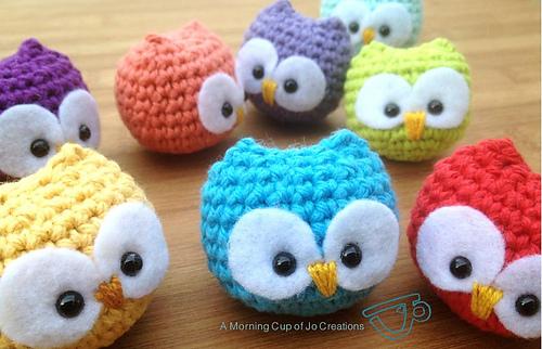 Crocheted baby owl
