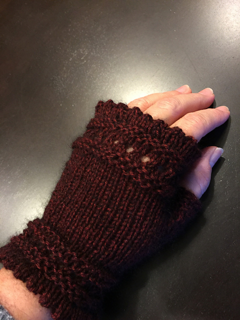 Pic of my burgundy mink reading mitts