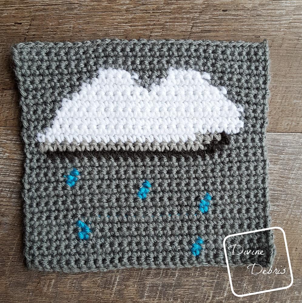 8″ Tapestry Rain Cloud Afghan Square