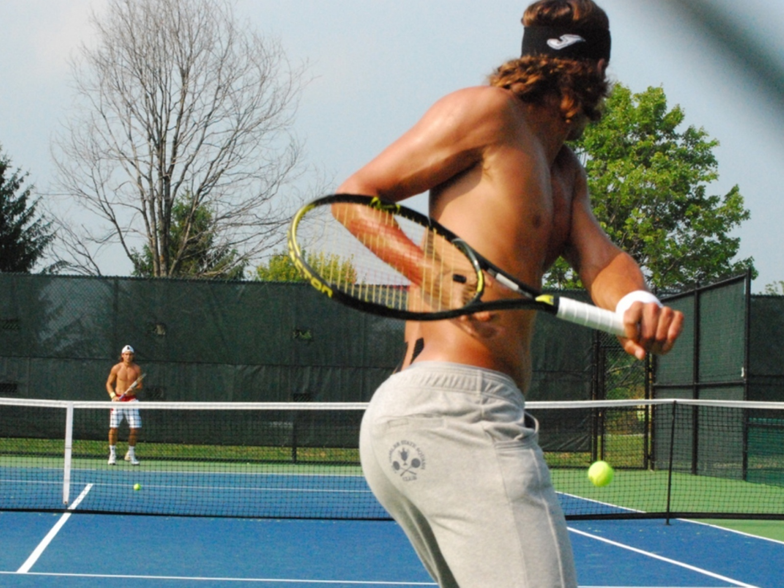 Horny tennis player whacking off