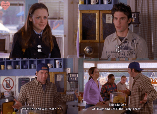 Image result for gilmore girls jess and rory