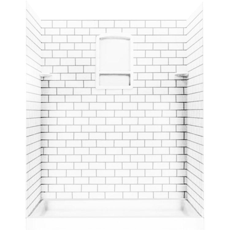 swanstone stmk72 3662 010 subway tile shower wall kit 36x62x72 white