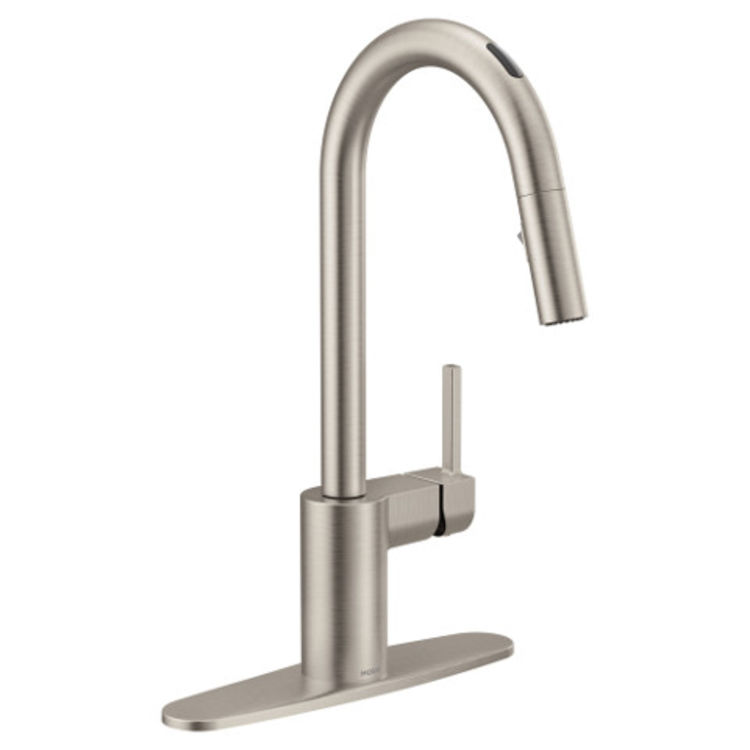 moen 7565evsrs align one handle voice activated pulldown kitchen faucet stainless