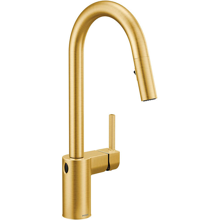 moen 7565ewbg align one handle high arc pulldown kitchen faucet w motionsense brushed gold