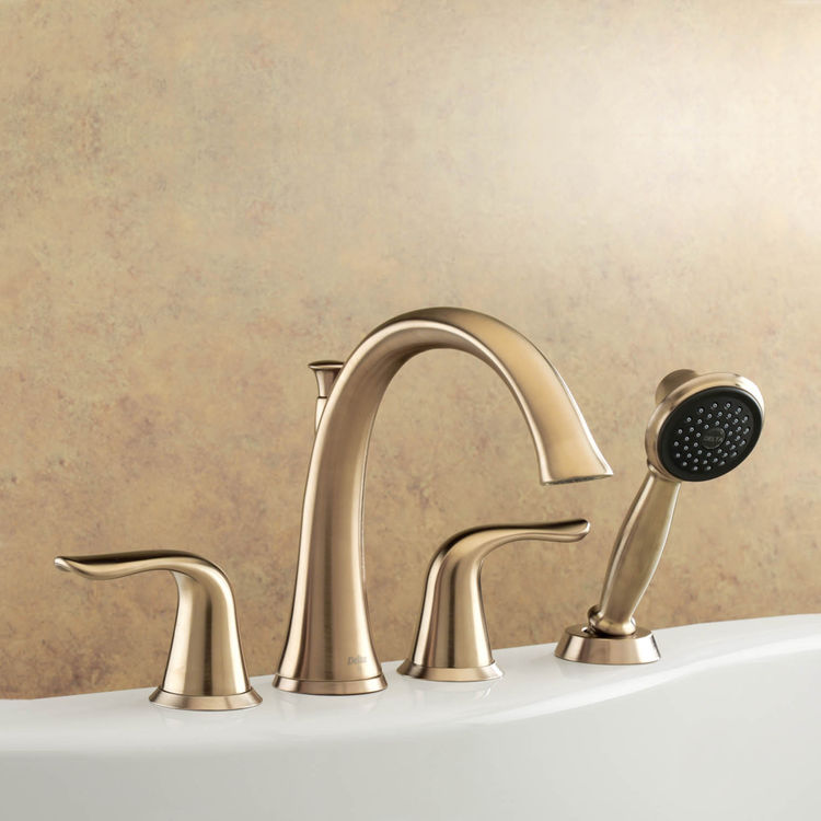 delta t4738 cz lahara roman tub faucet with handshower in champagne bronze