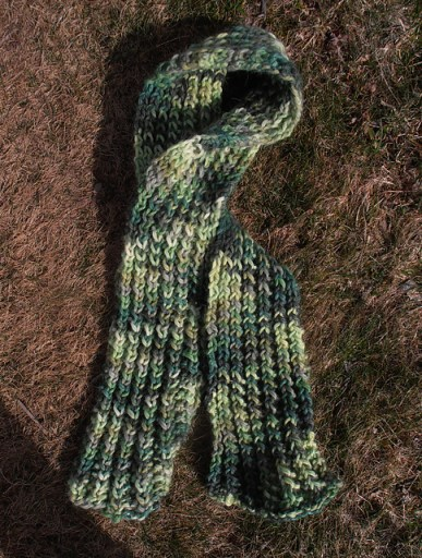 Knit Scarf - Group of Greens Snuggle Yarn
