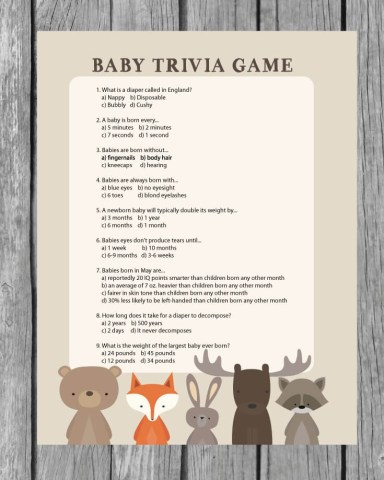 Printable Baby Shower Trivia Game   Woodland Animal Theme   Print It     Printable Baby Shower Trivia Game   Woodland Animal Theme   Print It Baby
