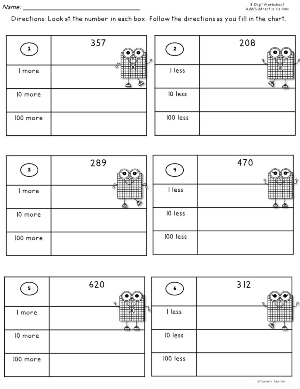 Add And Subtract 3 Digit Numbers By 1s 10s 100s