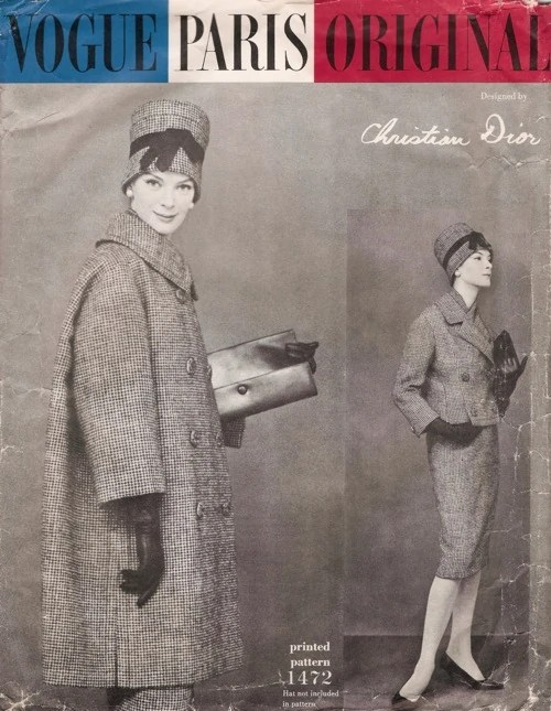 Nena von Schlebrügge wears coat and suit Vogue Paris Original 1472 by Christian Dior