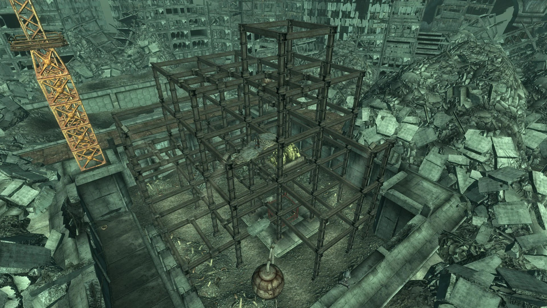 Above the undeground facility in F3 (image courtesy The Vault: A Fallout Wiki)