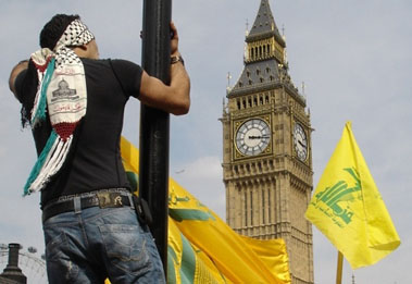 Hoisting the Hezzie flag in the Islamic Republic of Great Britain