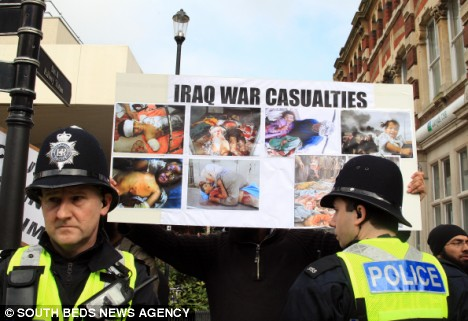 Posters were displayed accusing the Army of maiming babies and innocent civilians in Iraq