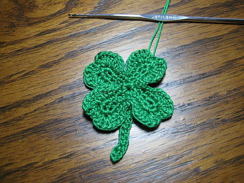 * Crocheted shamrocks!