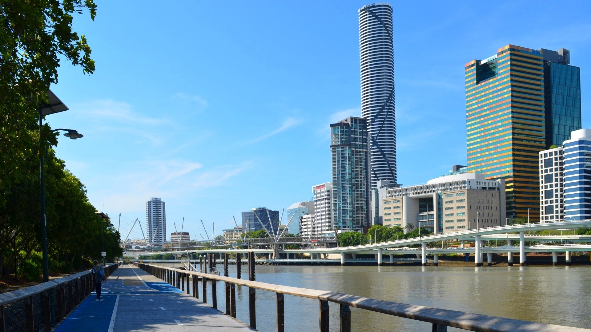 View Of The City From South Bank Parklands Full HD Fond D