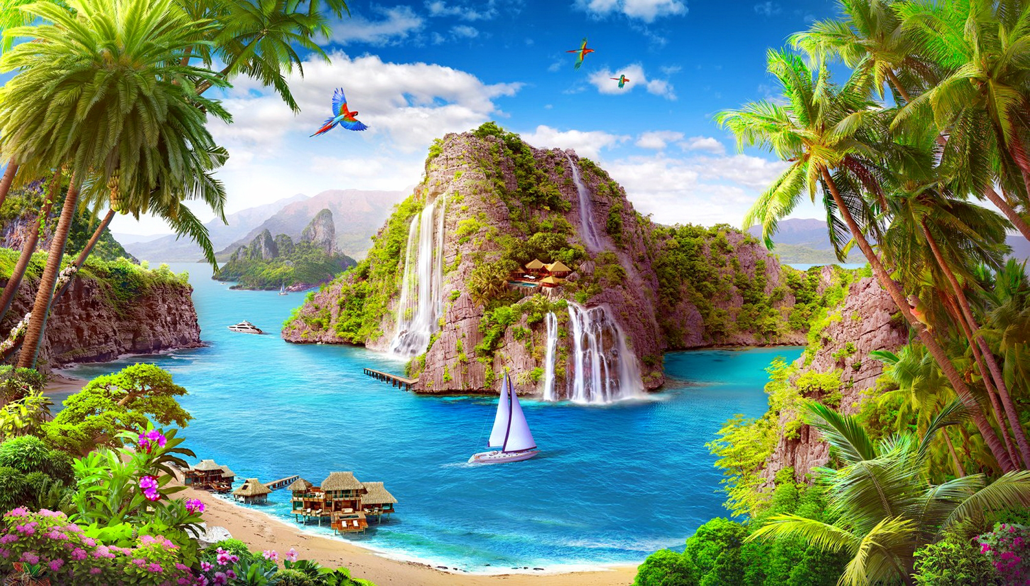 paradise fantasy full hd wallpaper and background | 2110x1200 | id