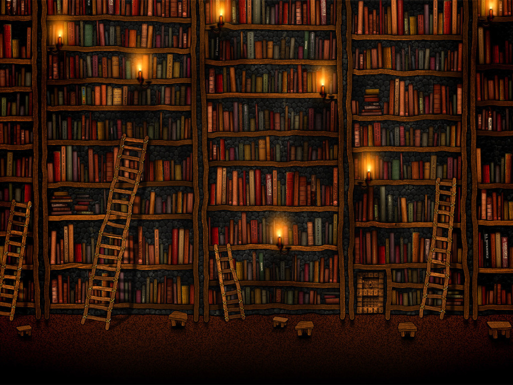 An image of bookshelves that fill the entire picture. There are books of all sorts of shapes and muted colors. There are ladders of varying lengths leaning against the bookcases and candles set randomly across the shelving.